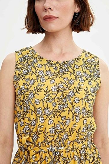 DeFacto Beli Kuşaklı Desenli Elbise Sarı
